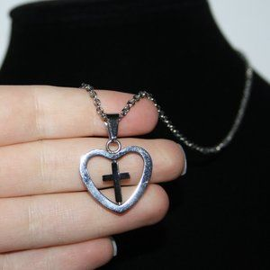 Beautiful silver heart necklace with cross